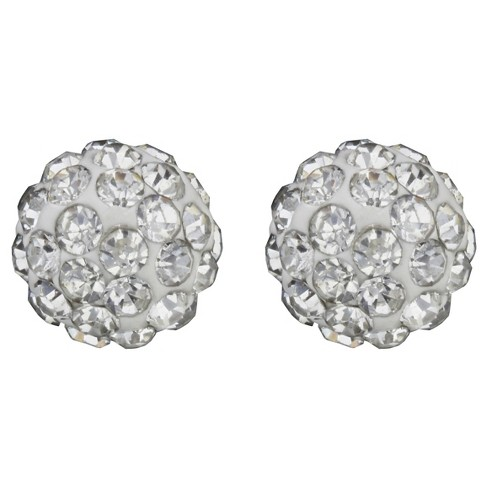 Button Post Earrings Plated Brass 8 MM Crystal Fireball - Silver/Clear - image 1 of 1