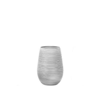 16.5oz 6pk Glass Olympia Twister Tumbler Drinkware Set White/Silver - Stolzle Lausitz
