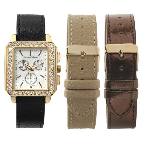 Women's Journee Collection Rhinestone Accented Square Face Watch - White - image 1 of 2