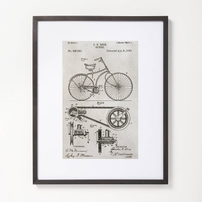 """16"""" x 20"""" Bicycle Drawing Framed Wall Art - Hearth & Hand™ with Magnolia"""