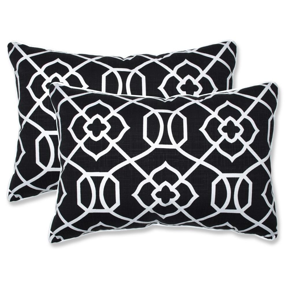 Outdoor Indoor Kirkland Black Over Sized Rectangular Throw Pillow Set Of 2 Pillow Perfect