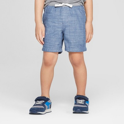 Toddler Boys' Chambray Pull-On Shorts - Cat & Jack™ Blue 18M