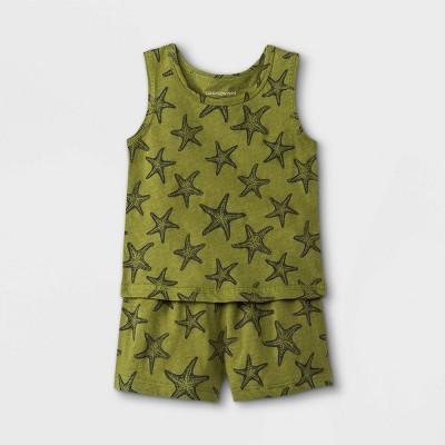 Grayson Mini Baby Boys' Starfish Top & Shorts Set - Green 0-3M