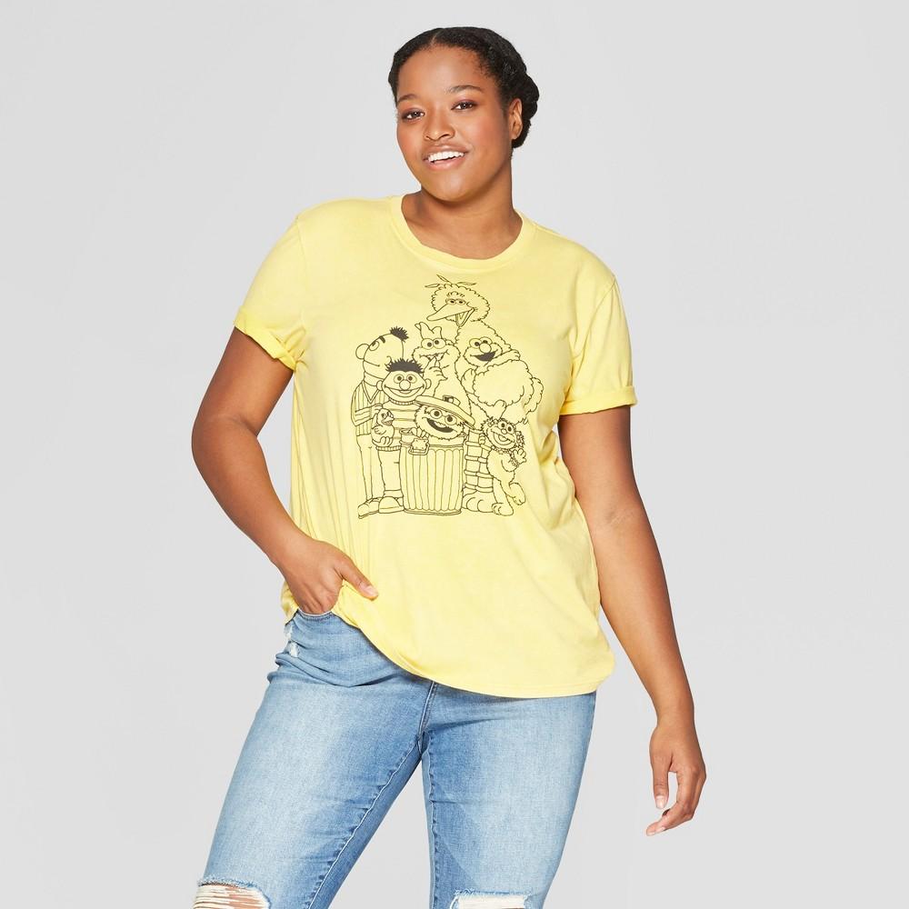 Women's Plus Size Short Sleeve Sesame Street T-Shirt - (Juniors') - Yellow 1X, Gold