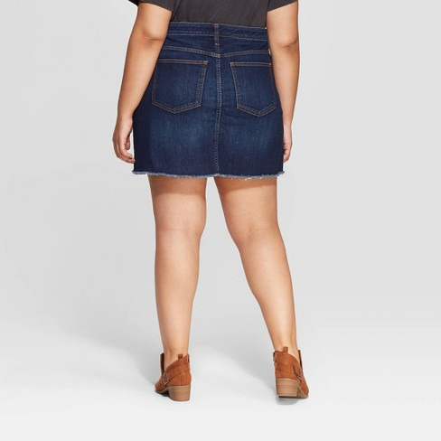 4abc766f4e Women's Plus Size Denim Mini Skirt - Universal Thread™ Dark Blue ...