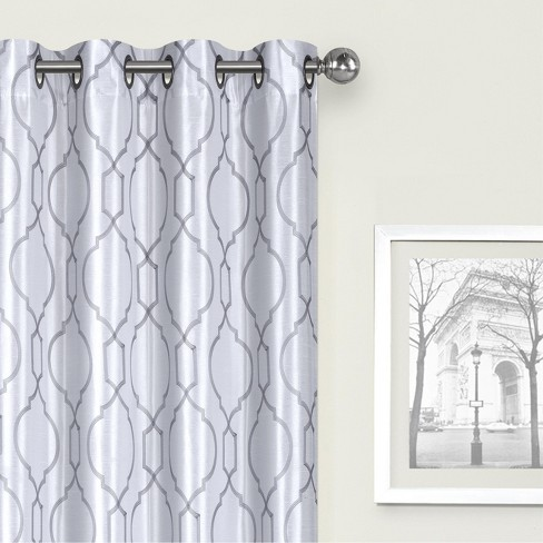 Kate Aurora Living 2 Pack Embroidered Trellis Semi Sheer Grommet Curtains - image 1 of 4