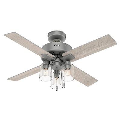 Hunter Fan Company Pelston 44 Inch Indoor Home Small Room 3 Speed Ceiling Fan w/ LED Light, 5 Light Gray Oak Blades, & Pull Chain, Silver