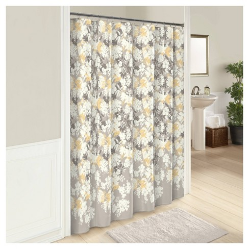Garden Party Shower Curtain Gray Yellow, Shower Curtains Gray And Yellow