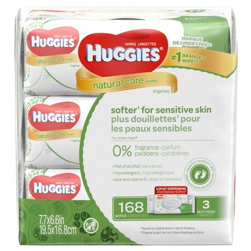 Huggies Natural Care 3pk Baby Wipes Unscented - 168ct - image 1 of 3