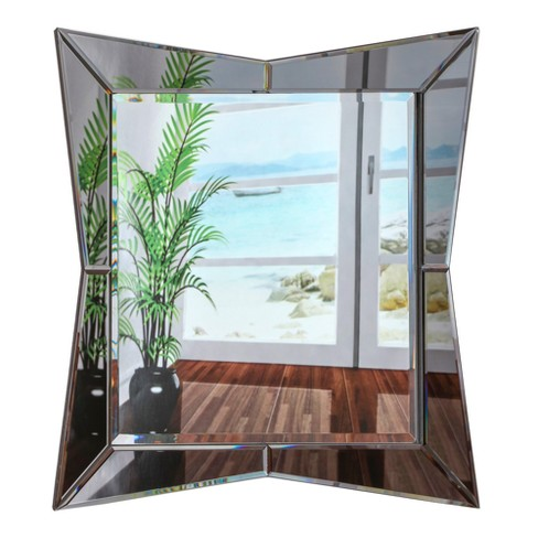 Rectangular Beveled Frameless Wall Mirror With Geometric Abstract Shaped Border Silver 24 X 36 Breeze Point