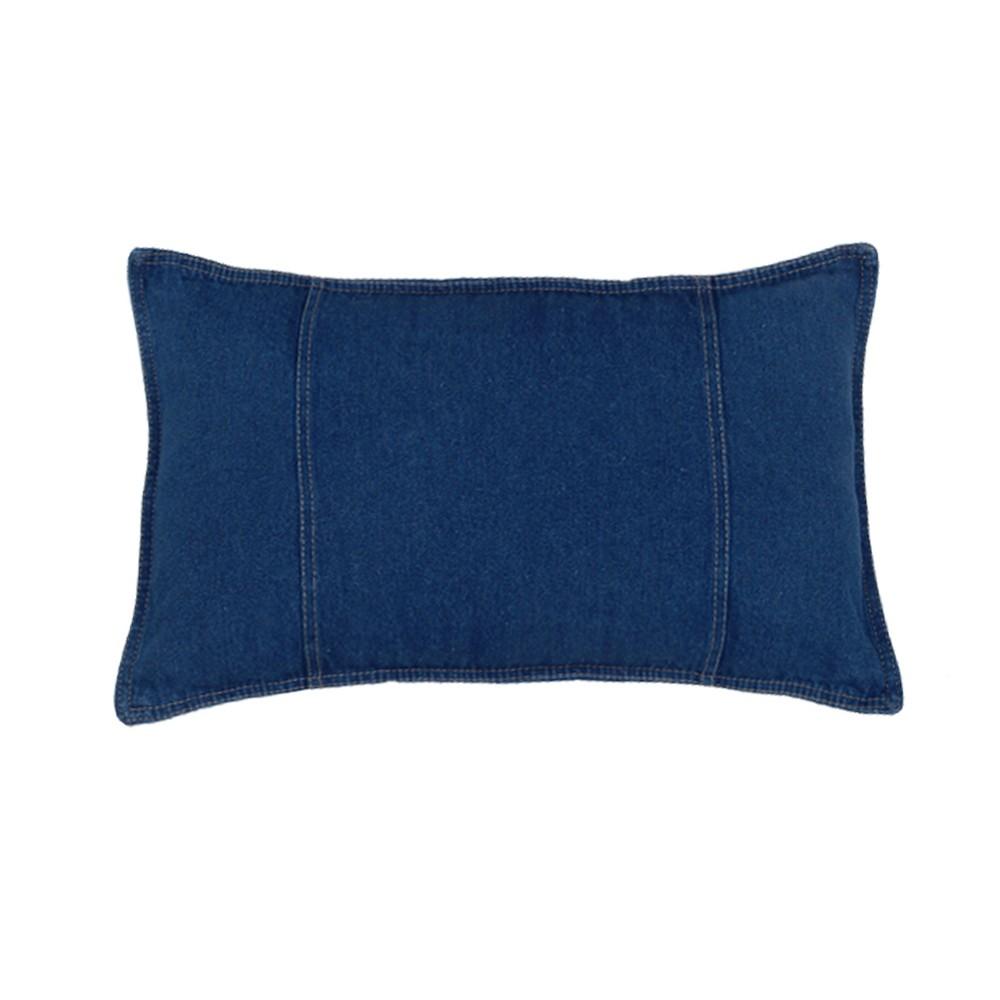 Image of Denim Lumbar Pillow - Blue