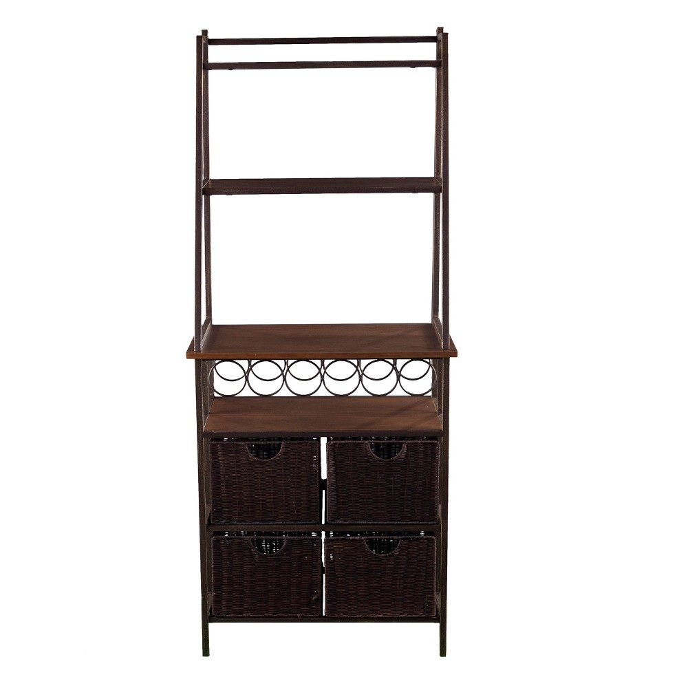 Bouvier Metal Bakers Rack Brown - Aiden Lane Organize your kitchen with the Aiden Lane Bouvier Metal Bakers Rack with Wine Storage. Vertical shelving displays small kitchen appliances, while baskets hold fresh fruits, and bottle storage holds everything from water to wine. Color: Brown. Gender: unisex.