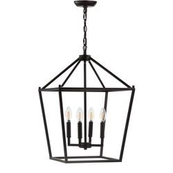 "16"" Pagoda 4 Bulb Lantern Metal LED Pendant Black - JONATHAN Y"