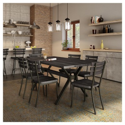 Dock Metal Dining Chair With Distressed Wood Seat And Backrest 2 In Set    Amisco : Target