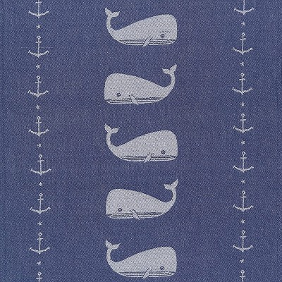 Now Designs 28 x 18 Inch 100 Percent Cotton Whale Jacquard Kitchen Décor Dishtowel for Cleaning Dishware, Counters, Tables, and Hands, Ahoy Matey