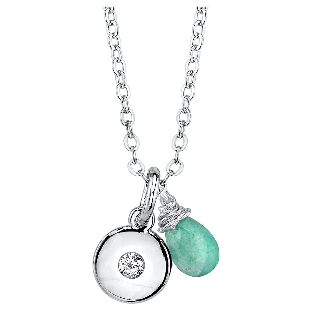Women's Silver Plated Peridot Briolette Charm Necklace - Silver (18)