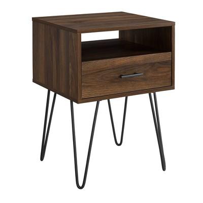 Modern Single Drawer Hairpin Leg Side Table - Saracina Home