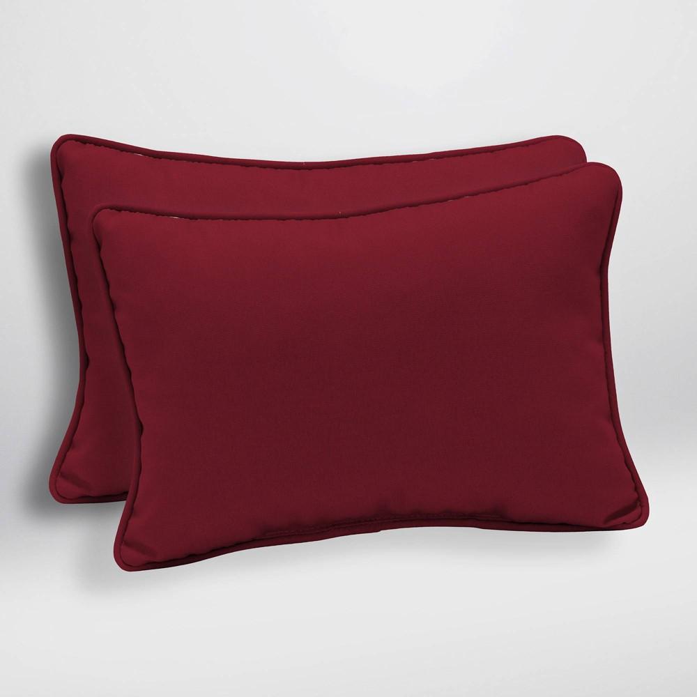 2pk Caliente Canvas Texture Oversized Outdoor Lumbar Pillows Berry (Pink) - Arden Selections