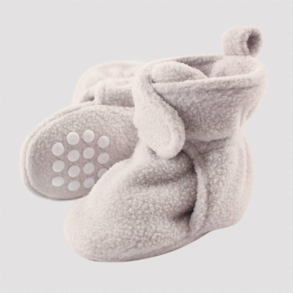 Image of Luvable Friends Baby Fleece Lined Scooties - Light Gray 18-24M, Kids Unisex