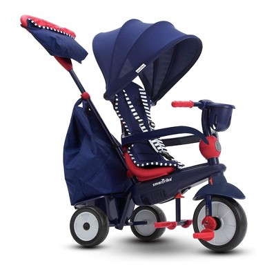 smarTrike Swirl 4 in 1 Stroller Tricycle Push Bike Toy with Safety Harness for Baby, Toddler, and Infant Ages 15 Months to 3 Years, Navy