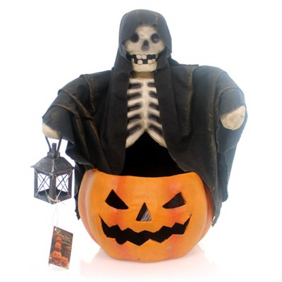 Halloween Ghoul Candy Bowl Pumpkin Skeleton  -  Decorative Figurines