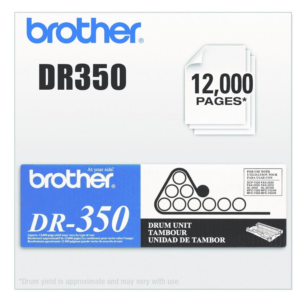 Brother DR350 Laser Printer Drum Unit - Black (BRTDR350) Depend on this quality Oem drum cartridge for optimal printing. Engineered for reliable, accurate image transfer. Easy installation gets you back to printing in no time. Device Types: Fax; Multifunction Inkjet Printer; Color(s): Black; Page-Yield: 12000; Supply Type: Drum Unit.