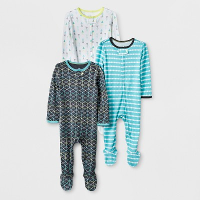 Baby Boys' 3pk Geo Zip Sleep 'N Play - Cloud Island™ Gray/Turquoise 3-6M