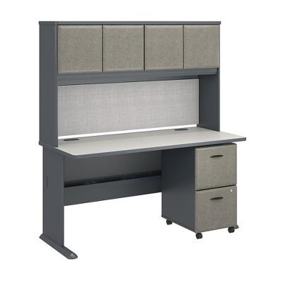 Bush Business Furniture Cubix 60w X 27d Desk With Hutch And 2 Drawer Mobile Pedestal Slate Target