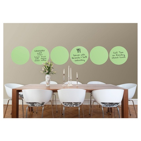 """Wall Pops!  Dry Erase Board Circle Decals 13"""" 6ct - Pastel Green - image 1 of 4"""