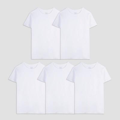 Fruit of the Loom Boys' 4 + 1 Bonus Pack T-Undershirt - White M