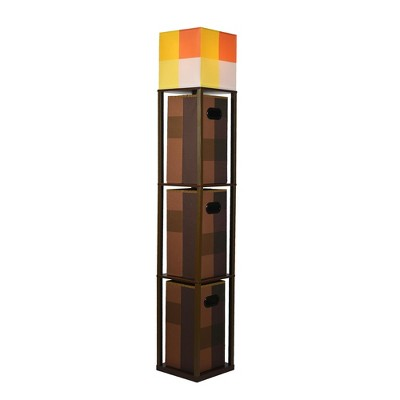 Robe Factory LLC Minecraft Brownstone Torch Standing Floor Lamp and Storage Unit | 5 Feet Tall