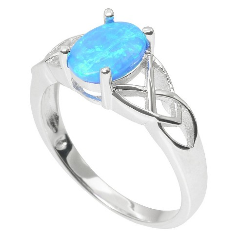 1/3 CT. T.W. Journee Collection Oval Cut Simulated Opal Celtic Ring in Sterling Silver - Silver (9) - image 1 of 2