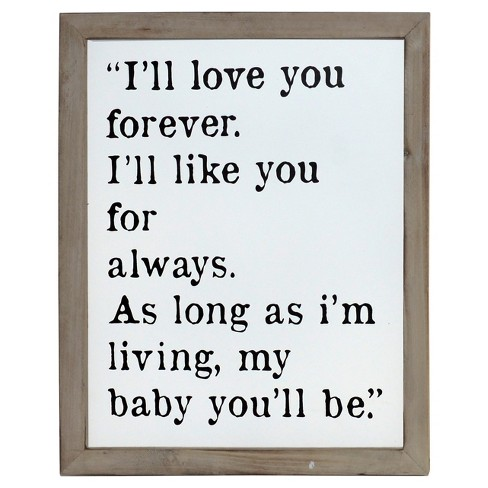 "I'll Love You Forever Wall Décor White(12""x15"") - VIP Home & Garden - image 1 of 1"