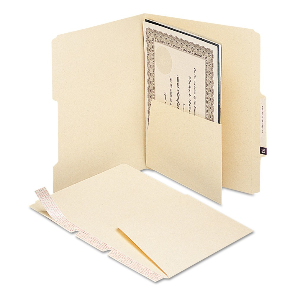 Smead Self-Adhesive File Folders Dividers with 5-1/2 Pockets on Both Sides- Manila (25 per Pack), Off White