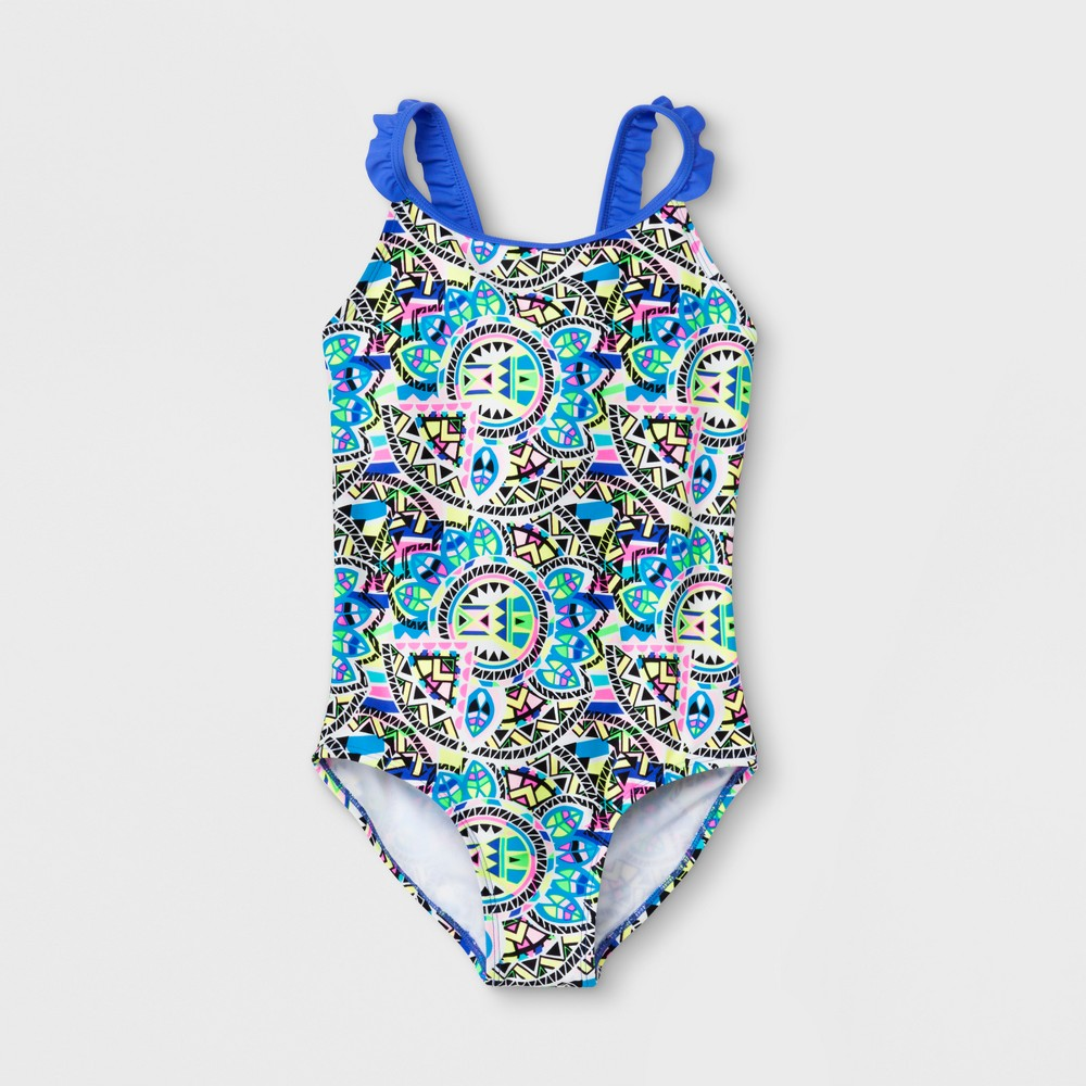 Freestyle Girls' Tribal Sundial One Piece Swimsuit - 12, Multicolored