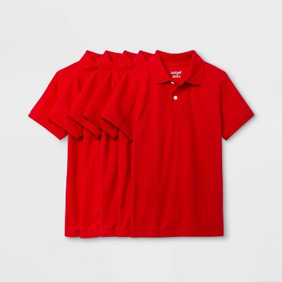 Boys' 5pk Short Sleeve Uniform Polo Shirt - Cat & Jack™ Red