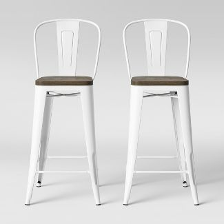Carlisle Wood Seat Backed Barstool Matte White - Threshold™