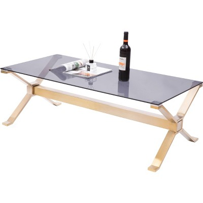 Bold Tones Rectangular Gold Stainless Steel Metal Smoked Glass Modern Coffee Table