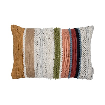 Multicolor Hand Woven 14 x 22 inch Decorative Cotton Throw Pillow Cover With Insert and Hand Embroidered Details - Foreside Home & Garden