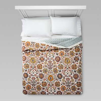 Cream Medallion Linen Flange Quilt (Full/Queen)- Threshold™