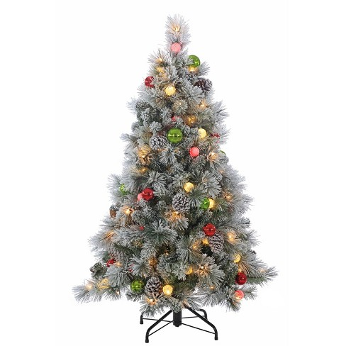 4.5ft Pre-Lit LED Artificial Christmas Tree Slim Flocked Hard Needle Pine with Pine Cones & Shatterproof Ornaments - Clear Lights - image 1 of 1