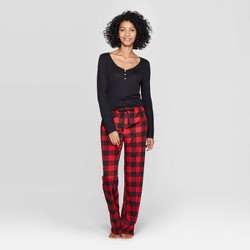 Women's Buffalo Check Henley Sleep Pajama Set - Stars Above™ Black