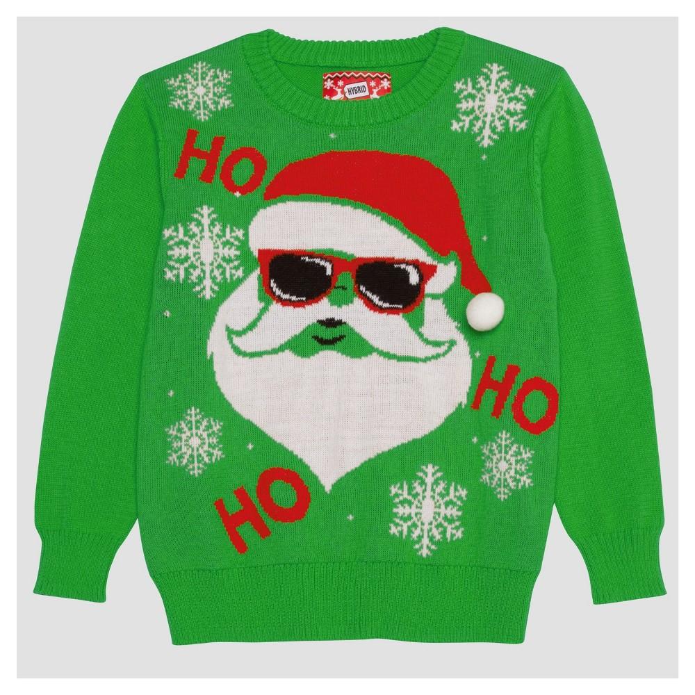 Hybrid Apparel Boys' Cool Santa Ugly Sweater - Lime Green L