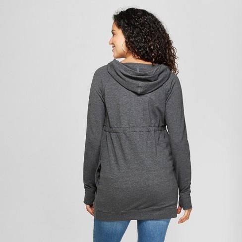 3dadbdc1 Maternity Long Sleeve Zip Hoodie - Isabel Maternity By Ingrid & Isabel™  Charcoal Gray Heather : Target