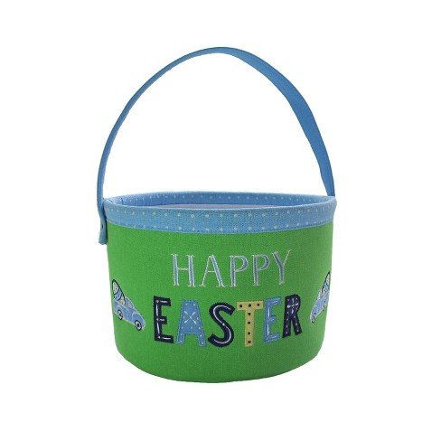 "10"" Happy Easter Canvas Embroidered Basket Green/Blue  - Spritz™ - image 1 of 1"