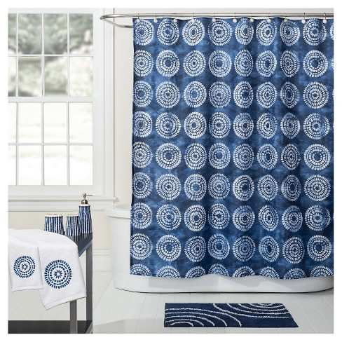Waterfall Fabric Shower Curtain Blue White
