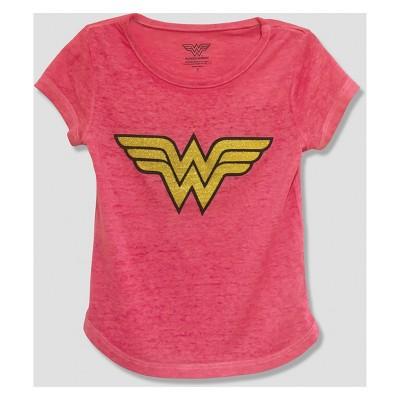 Toddler Girls' DC Comics Wonder Woman Short Sleeve T-Shirt - Pink 18M