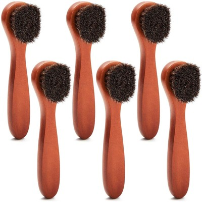 Okuna Outpost 6 Pack Horsehair Brushes for Shoes and Bags,  6.75 x 1.6 x 1.25 in