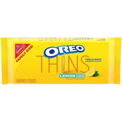 Oreo Thins Lemon Flavor Creme Golden Sandwich Cookies Family Size - 13.1oz