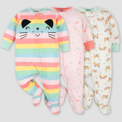 Gerber Baby Girls' 3pk Rainbow Zip-Front Sleep N' Play - Green Newborn